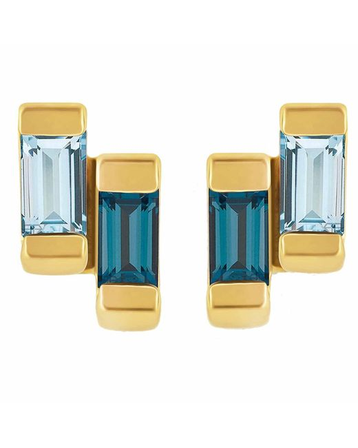 Neola - Metallic Anais Gold Stud Earring With London & Blue Topaz - Lyst