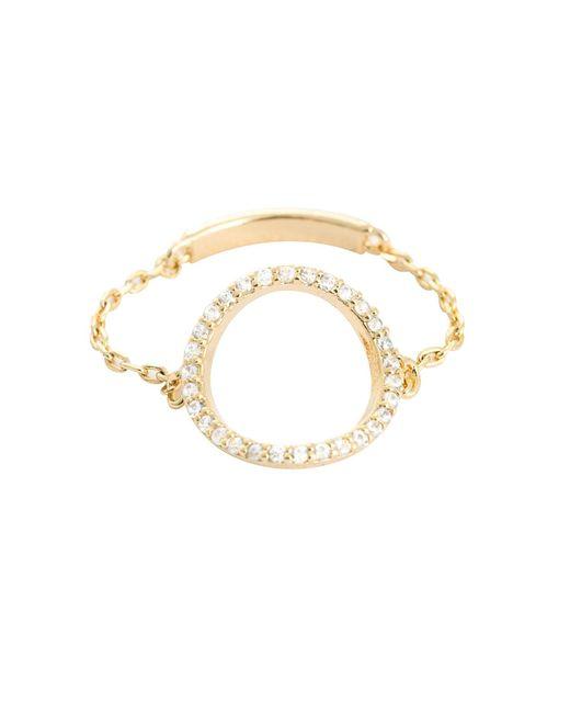 Astrid & Miyu - Metallic Tuxedo Circle Chain Ring Gold - Lyst