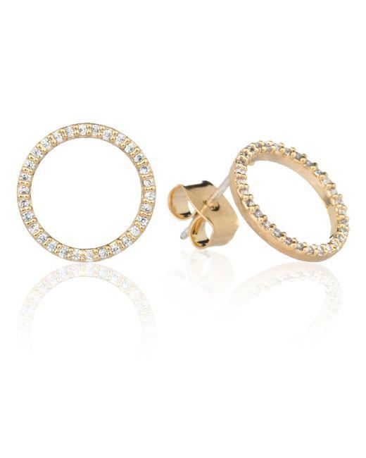 Astrid & Miyu - Metallic Tuxedo Circle Stud Earrings In Gold - Lyst