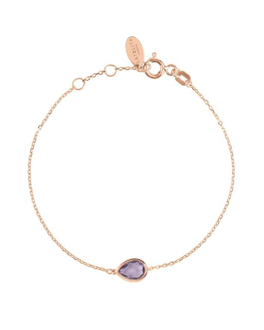Latelita London - Multicolor Pisa Mini Teardrop Bracelet Rosegold Amethyst - Lyst