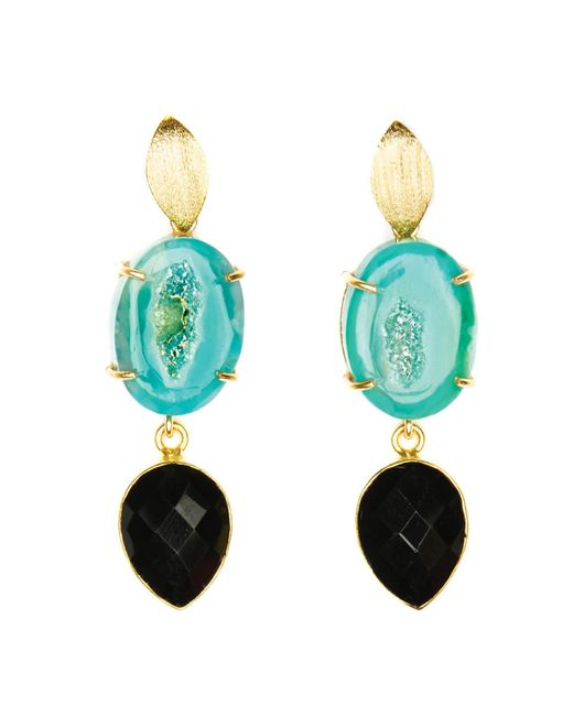 Magpie Rose Green Agate & Black Onyx Cocktail Earrings
