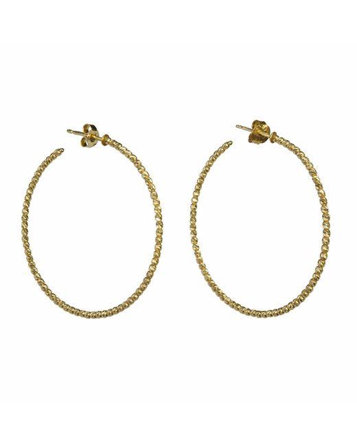 Talia Naomi - Metallic Beluga Hooped Earrings Gold - Lyst