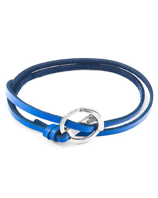 Anchor & Crew - Royal Blue Ketch Anchor Silver & Flat Leather Bracelet for Men - Lyst