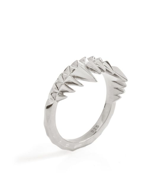 Kasun Metallic Crocodile Bite Ring Silver