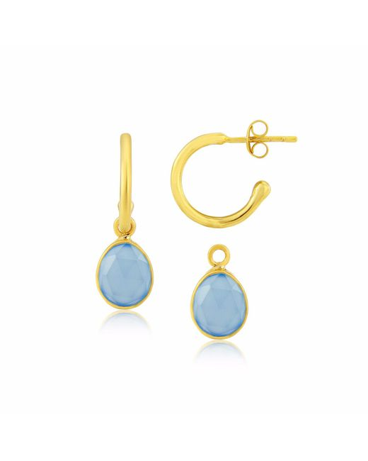 Auree Jewellery - Metallic Manhattan Gold & Blue Chalcedony Interchangeable Gemstone Earrings - Lyst