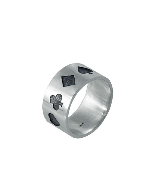 Edge Only - Metallic Poker Ring Oxidised Silver for Men - Lyst