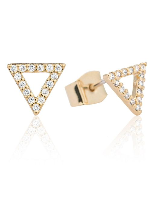 Astrid & Miyu - Metallic Tuxedo Triangle Stud Earrings Gold - Lyst