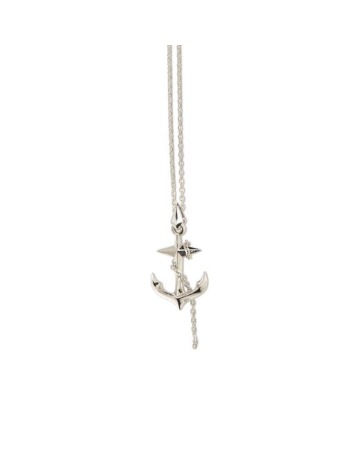 Kasun | Metallic Black Sea Silver Anchor Pendant | Lyst