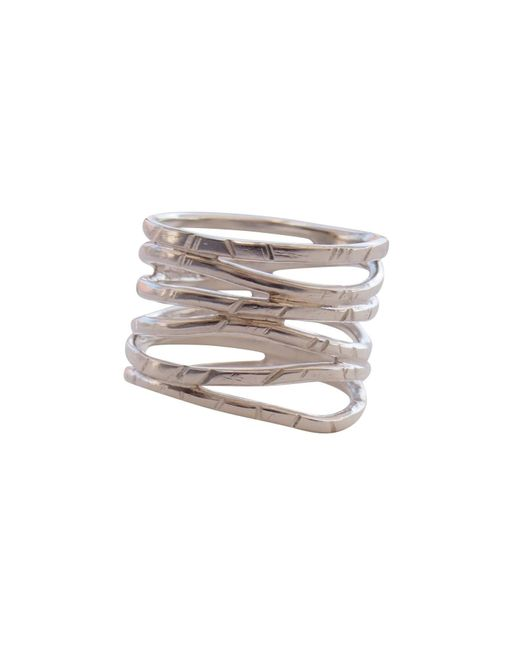 Elena Jewelry Concepts Metallic Silver Wave Ring