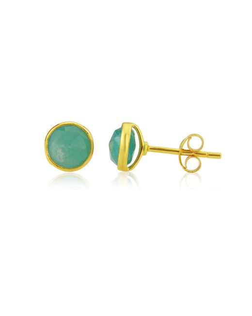 Auree Jewellery Metallic Yellow Gold Plated Savanne Gemstone Stud Earrings