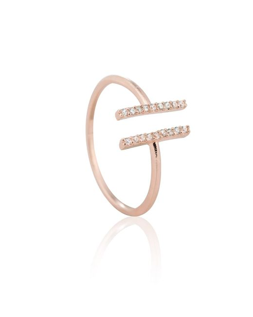 Astrid & Miyu - Metallic Chase Me Double Bar Ring In Rose Gold - Lyst