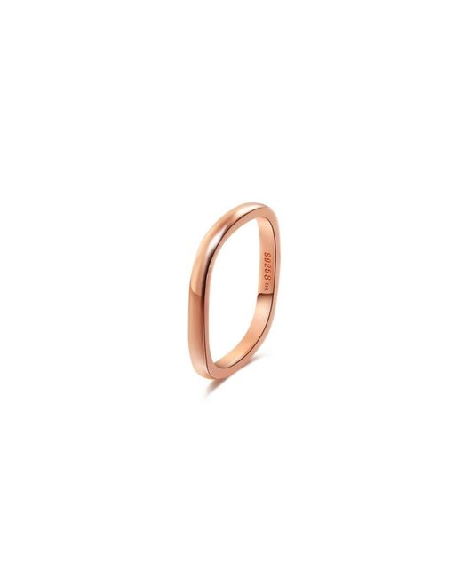 Opes Robur - Metallic Rose Gold Plated Silver Stacking Ring - Lyst