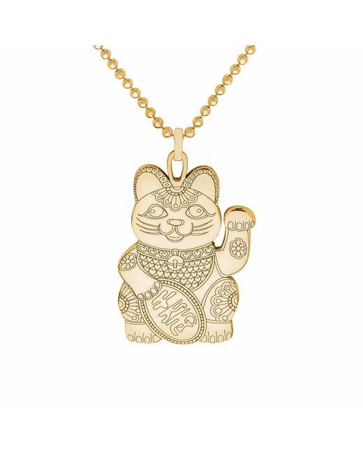 CarterGore - Metallic Gold Lucky Cat Pendant Necklace - Lyst