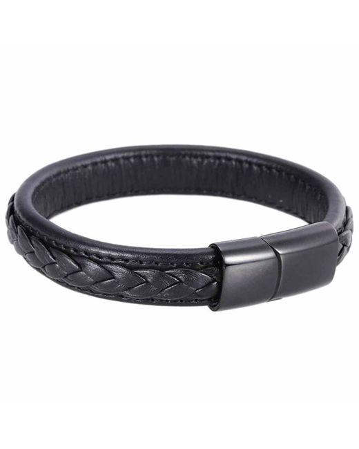 N'damus London - Mens Black Leather Braided Bracelet With Black Clasp for Men - Lyst