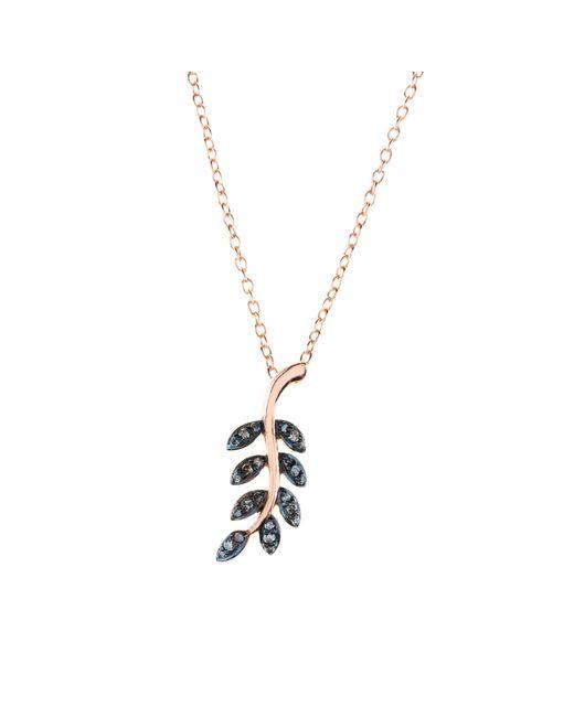 Latelita London | Multicolor Diamond Leaf Necklace Rosegold | Lyst