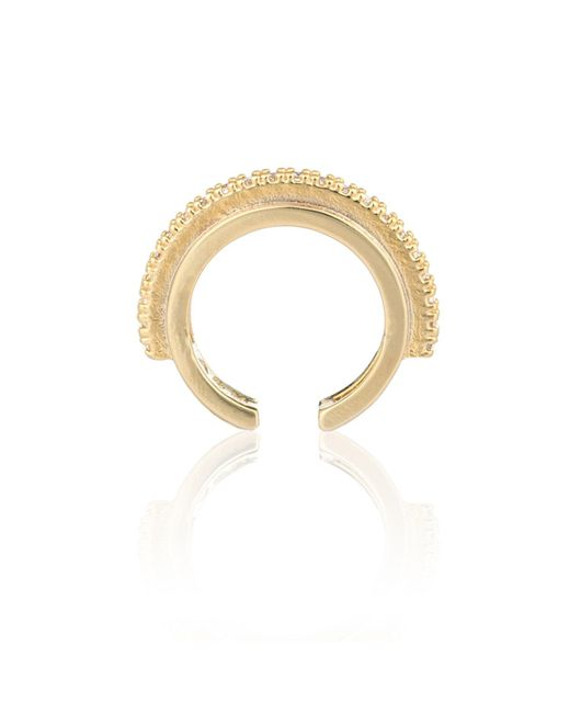 Astrid & Miyu - Metallic Fitzgerald Circle Ear Cuff In Gold - Lyst