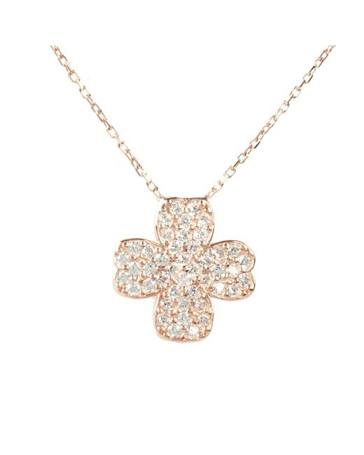 Latelita London | Metallic Lucky Clover Necklace Rosegold | Lyst
