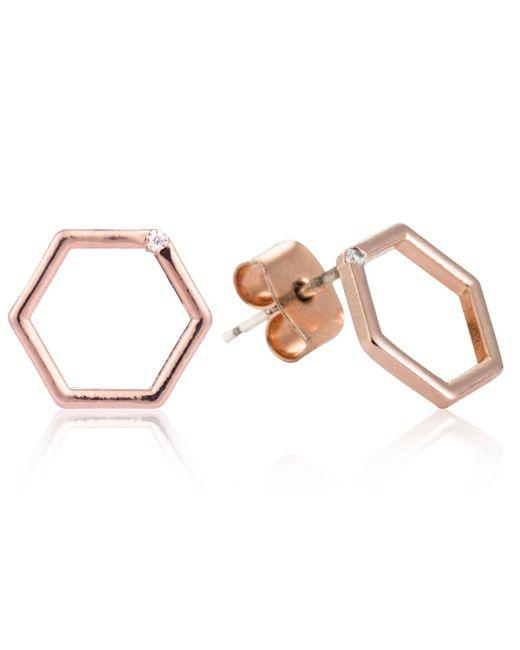 Astrid & Miyu | Multicolor Hexagon Stud Earrings In Rose Gold | Lyst