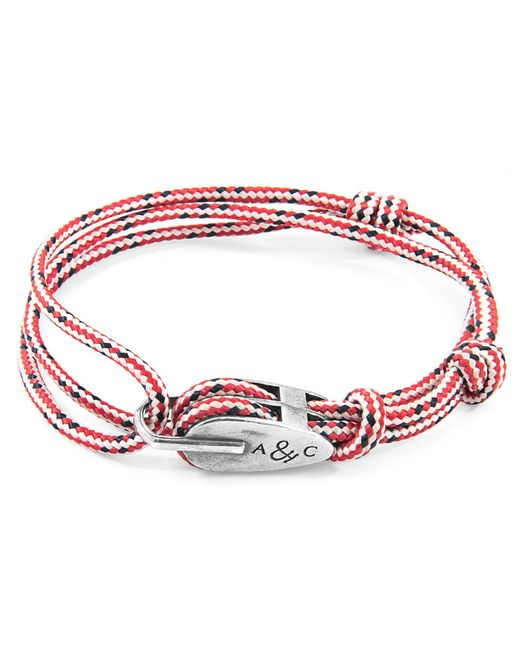 Anchor & Crew - Metallic Red Dash Tyne Silver & Rope Bracelet for Men - Lyst