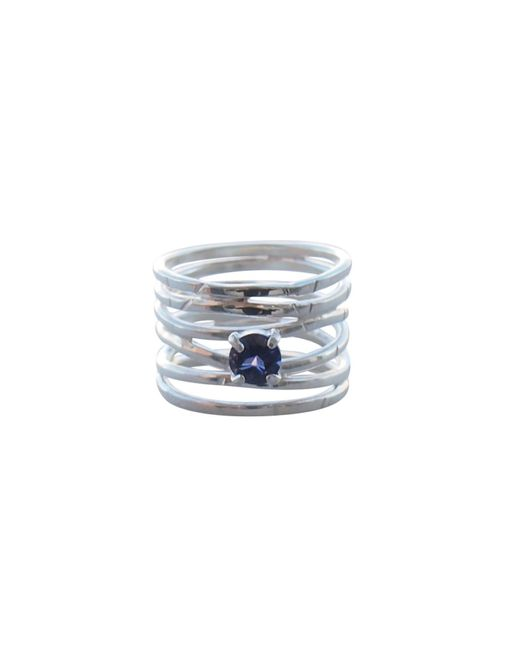 Elena Jewelry Concepts Metallic Silver Wave Ring With Blue Iolite