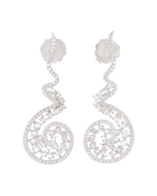 Artisan 18k White Gold & Diamond Curl Earrings