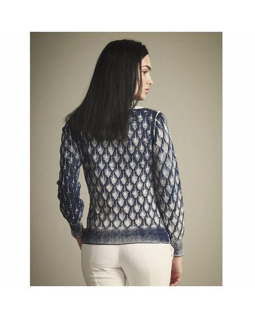 NY CHARISMA Blue Cotton Hand Print Diamond Pattern Pullover