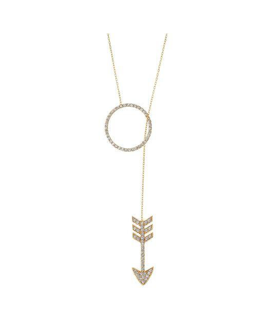 Talia Naomi | Metallic Shot Through The Heart Lariat Necklace | Lyst