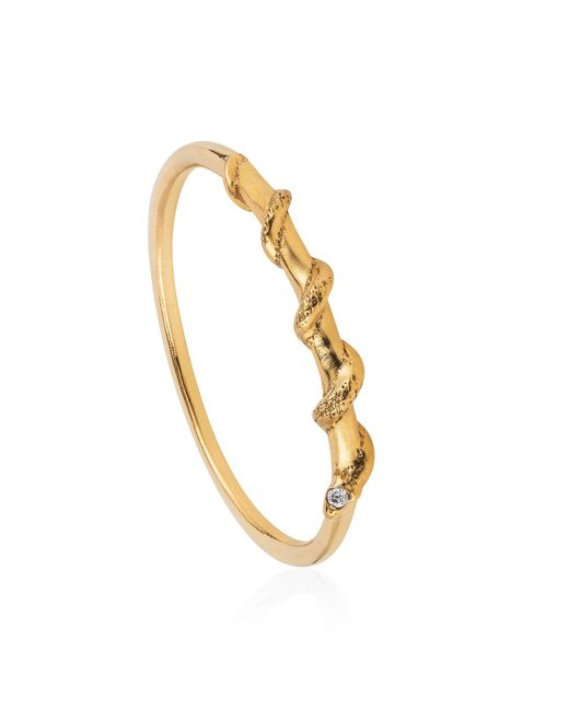 Lee Renee - Metallic Tiny Snake Ring Diamonds & Gold Vermeil - Lyst