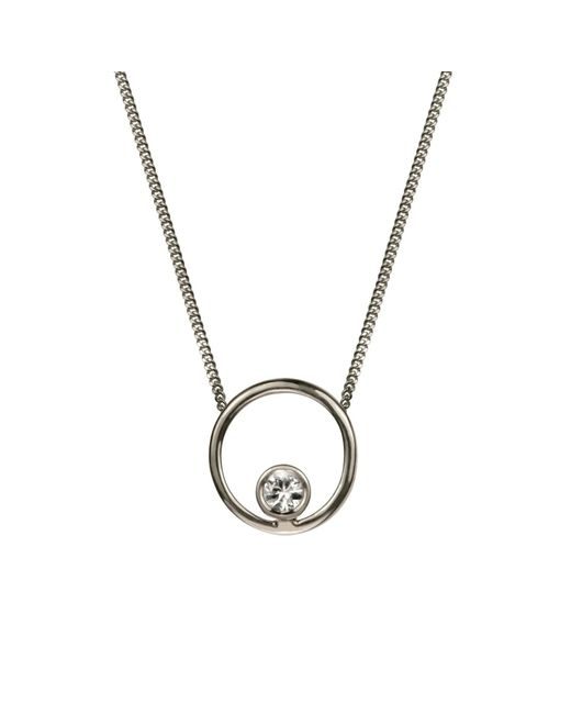 Lee Renee - Metallic Halo Necklace White Sapphire & Silver - Lyst
