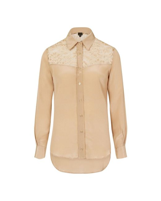 a74ffe2a0ff770 Sophie Cameron Davies - Natural Beige Fitted Silk Shirt - Lyst ...