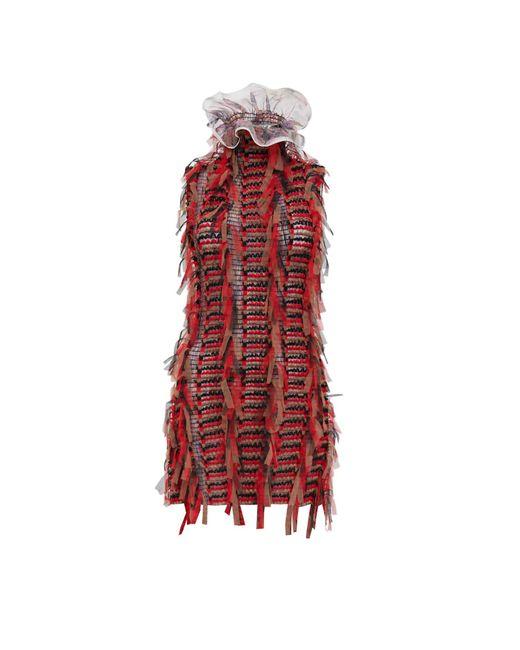 Sarah Regensburger Red Bone Fire Mini Dress