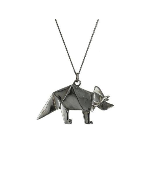 Origami Jewellery Metallic Titanium Black Silver Triceratops Necklace