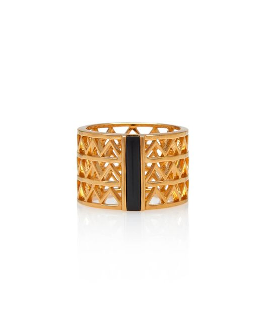 Alexandra Alberta - Metallic Yellow Gold Plated Guggenheim Ring With Black Onyx - Lyst