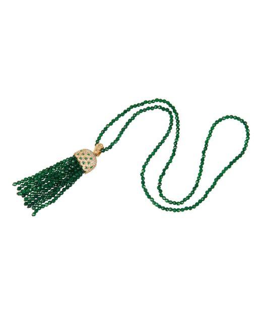 Latelita London | Bubble Tassel Necklace Gold Green Jade | Lyst