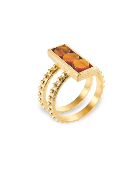 Ona Chan Jewelry   Brown Double Shank Beaded Rectangle Ring With Tiger's Eye   Lyst