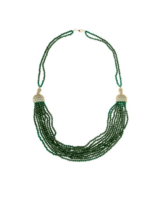 Latelita London | Cascading Tassel Statement Necklace Silver Green Onyx | Lyst