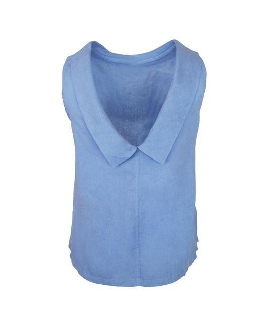 Haris Cotton Boat Neckline Sleeveless Linen Top With Deep V Back- Leisure Blue