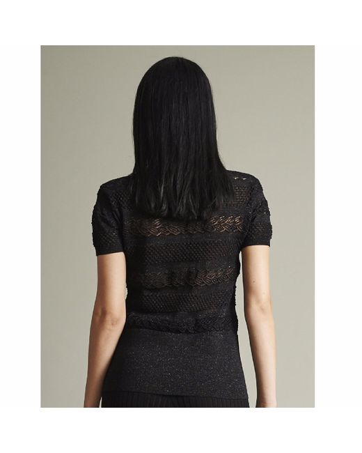 NY CHARISMA Black Textured Knitted Lace Short Sleeves Pullover