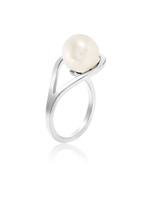 Neola Metallic Aurea Silver Ring With Freshwater Pearl