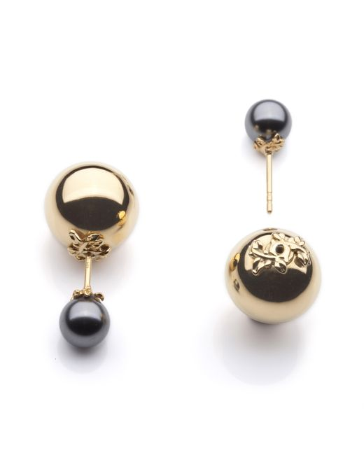 Kasun Gray Orb And Pearl Stud Earrings