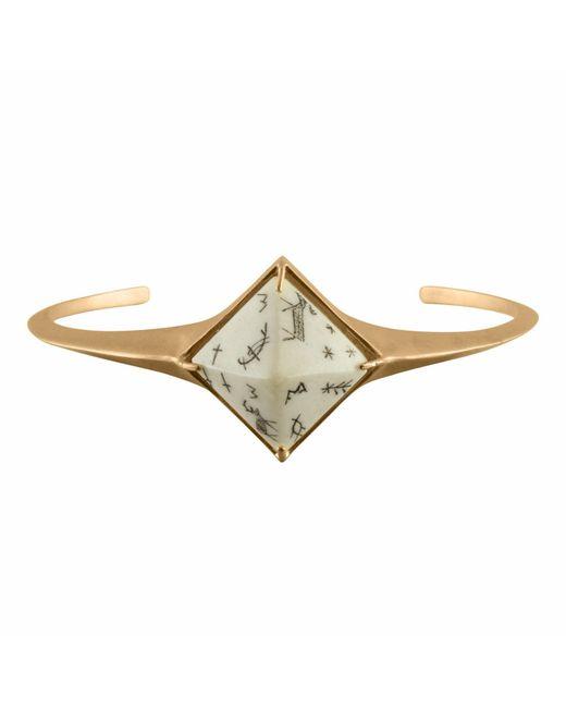 No 13 - Metallic Sami Pyramid Reindeer Bangle Sandblasted Gold Vermeil - Lyst