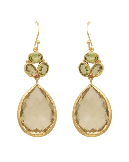 Carousel Jewels - Metallic Gold Peridot & Lemon Topaz Teardrop Earrings - Lyst