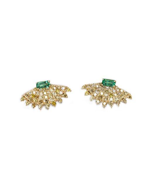 Ri Noor Metallic Rounded Fan Earrings With Yellow Diamonds & Emeralds