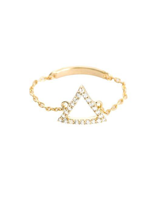 Astrid & Miyu - Metallic Tuxedo Triangle Chain Ring In Gold - Lyst