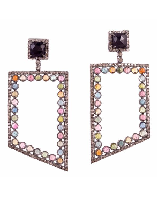 Meghna Jewels - Multicolor Tourmaline's & Diamonds Earring - Lyst