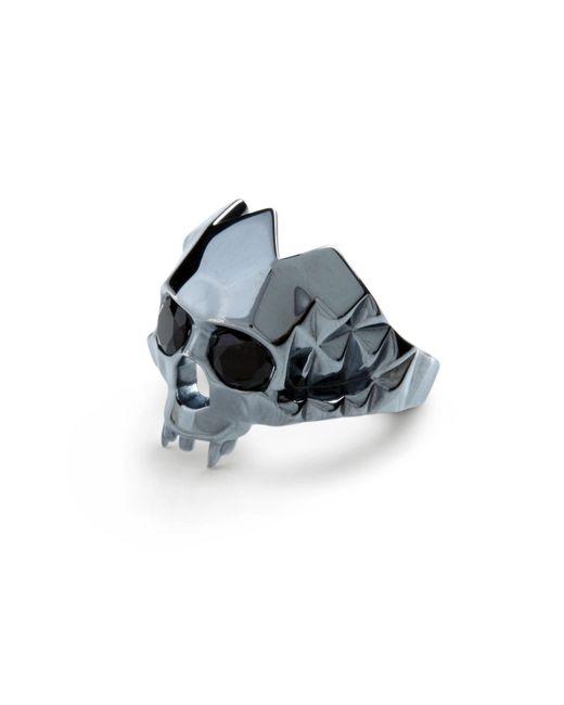 Kasun - Vampire Skull Ring Black Oxidised Silver - Lyst