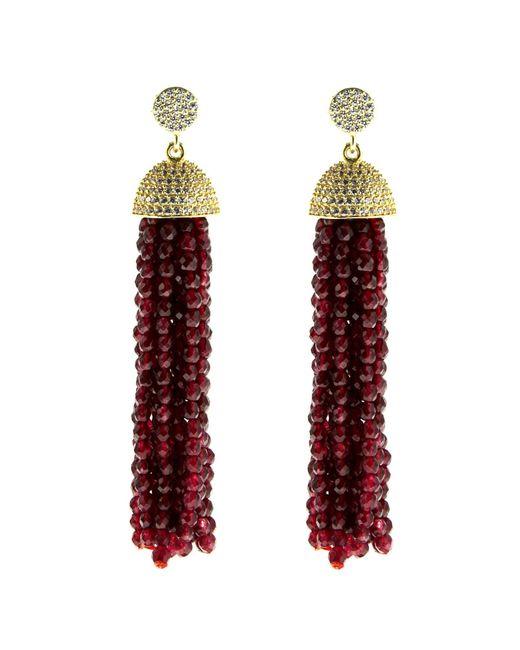Cosanuova - Sterling Silver Red Jade Tassel Earrings In Rose Gold - Lyst