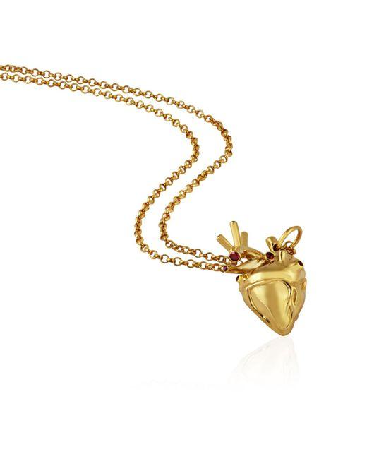 Strange Fruit Metallic Heart Pendant Gold With Rubies
