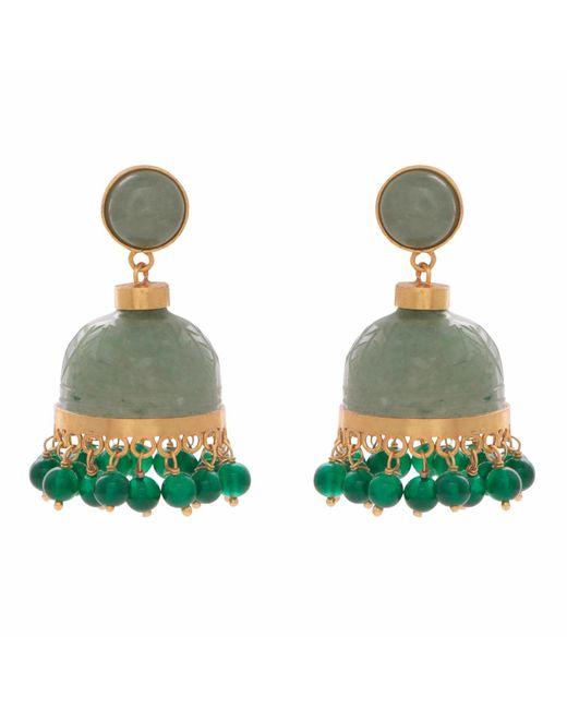 Carousel Jewels - Green Carved Aventurine Chandelier Earrings - Lyst