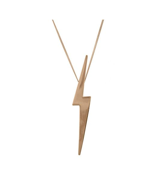 Edge Only - Metallic Skinny Lightning Bolt Pendant In 14ct Gold - Lyst